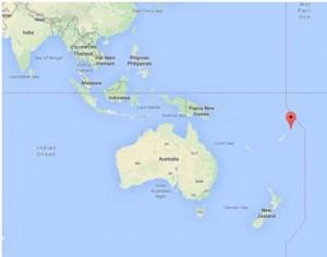 Le point rouge marque la localisation de Wallis-et-Futuna.